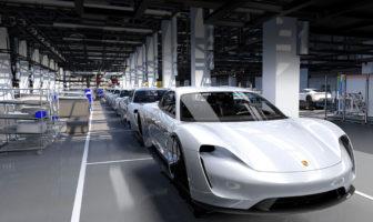 Porsche Taycan production line under construction