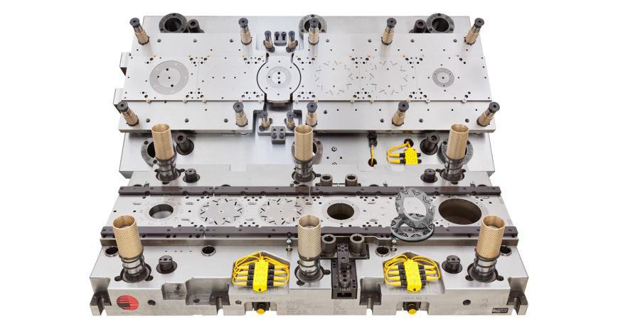 Picture of carbide progressive die for the EV market