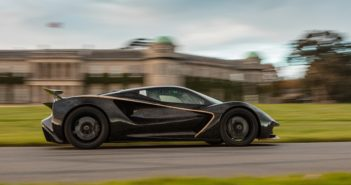 Lotus Evija all-electric hypercar in action at Goodwood race track